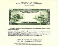 1983 B.E.P. Souvenir Card - 1915 $20.00 Federal Reserve Bank Note - Train  - B61
