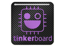 "Asus Tinker Board 1""x1"" Chrome Effect Domed Case Badge / Sticker Logo"