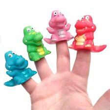 Pack of 4 Plastic Dinosaur Finger Puppet Toys - Fun Pocket Money Toys