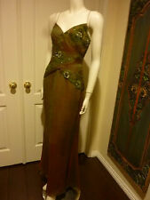 ELEGANT SILK 1920'S INSPIRED GOWN W/ BEADED APPLIQUES-DOWNTON ABBEY STYLE  Sz M