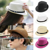 Women Men Unisex Summer Beach Trilby Fedora Straw Panama Brim Beach Cap Sun Hat