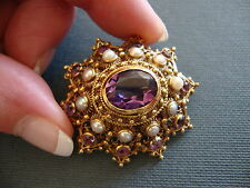 18K YELLOW GOLD OUTSTANDING ANTIQUE AMETHYST and PEARLS BROOCH 16.8 GRAMS