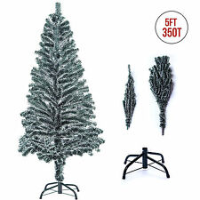 5ft Artificial Christmas Tree Xmas Pine Holiday Season Decor Snow Flakes w/Stand