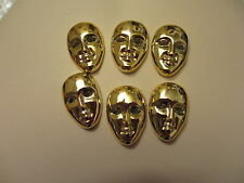 "1"" Gold Plastic FACE MASK Flat Back Buttons - 6 pieces"