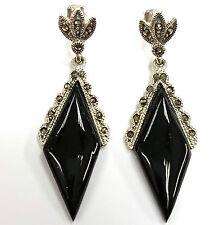Fine Sterling Silver 925 Art Deco style Black Onyx marcasite Earrings