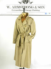 Women's Vintage 70's Beige Stone BURBERRY Trench Mac BELTED Alexa MOD Coat 16 R
