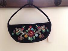 La Regale Black Velvet Clutch Evening Embroidered Bag Purse Handbag
