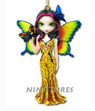 JASMINE BECKET GRIFFITH Fairy Ornament BUTTERFLY MASK Fairie YELLOW GOWN Figure