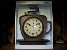 COFFEE CUP WALL CLOCK KITCHEN DECOR RESTAURANT COFFEE SHOP DINER ACCESSORIES NEW