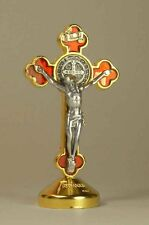 St. Benedict Crucifix 24kt Gold Plate / Red Enamel with Base 2.5""