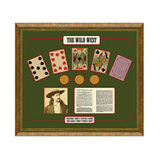 Old Wild West Gambling Framed Art- Authentic Cards & Wild Bill Hickok Decor Gift