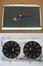 52mm for Nissan Silvia S14 S15 SR20DET Aluminium Radiator + fan shroud