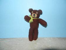Handmade Brown Crocheted Teddy Bear Rustic Primitive Country Small 6""