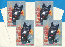 SCOTTISH TERRIER IN SNOW WITH SCARF 4 SCOTTIE DOG PRINT GREETING CHRISTMAS CARDS