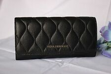 Black VERA BRADLEY Genuine Leather QUILTED AUDREY WALLET clutch purse NEW $138