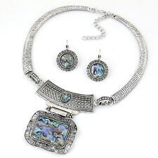 D30 Rectangle Abalone Shell Antiqued Textured Silver Necklace & Earring Set