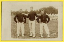 cpa Carte Photo Ancienne CAMP MILITAIRES SOLDATS du 43 ème Régiment Calot