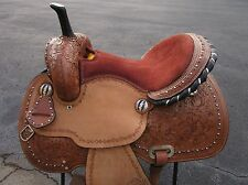 15 16 BARREL RACER SHOW PLEASURE BROWN COWGIRL LEATHER WESTERN HORSE SADDLE TACK