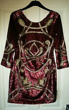 Stunning Needle & Thread Burgundy & Silver Hand Embellished Mini Dress UK 8 BNWT