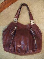B Makowsky Chestnut Brown Hobo Slouch Large Leather Handbag Purse