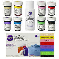 Wilton Icing Paste Food Colour Concentrated Gel Cake Pack Of 8 + White Whitener