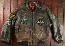 VTG '90 AVIREX US NAVY TYPE G-1 NATIVE INDIAN LEATHER FLIGHT BOMBER JACKET LARGE