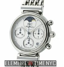 IWC Da Vinci Ladies Chronograph Moonphase Steel White Dial IW3736-06 W/ Papers
