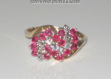 EXQUISITE ESTATE 14K YELLOW GOLD RED RUBY & DIAMOND CLUSTER RING Size 9.75 LKS