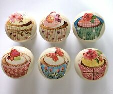 6 x Chic Handpainted & Decoupaged Cupcake Cup Cake 4cm Pine Drawer Knobs