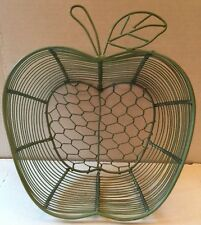 Apple Shaped Green Wire Basket Bowl