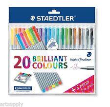 Staedtler Triplus Fineliner/Triangular Pens/20 Brilliant Colours+6 Neon/StandBox