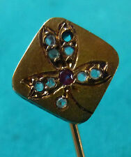 EPINGLE DE CRAVATE-TIE PIN-GOLD-OR 18 k -TREFLE- diamants-rubis
