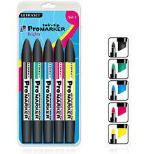 Letraset Promarker 5 Marker Pen Set  - SET 1 -  Brights