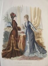 GRAVURE EN COULEUR 19è MODE ILLUSTREE 1877 N° 1 TOILETTES MADAME BREANT CASTEL