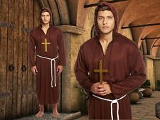 Adult Mens Monk Friar Priest Druid Hooded Robe Fancy Dress Costume U00 382