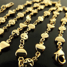 FSA485 GENUINE REAL 18CT YELLOW G/F GOLD HEART CHARM PENDANT NECKLACE CHAIN