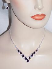 Silver W. purple & Clear Rhinestone Crystal Necklace & Earrings Set