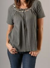 NWT 525 America **Navy Blue** Cotton Cashmere Embellished Top Size Small