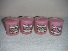 Yankee Candle Summer Scoop pink Strawberry scented votives lot 4 new wax