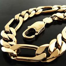 A088 GENUINE REAL 18K G/F GOLD MENS SOLID FIGARO HEAVY LINK CUFF BRACELET BANGLE