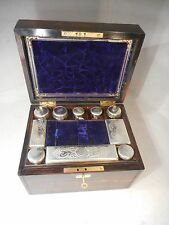 Antique Coromandel Fitted Vanity Box Silver Plated topped Bottles    ref 1872