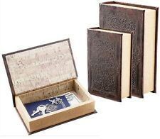 2 pc. Book Hidden Safe Brown Faux w/ Magnetic Closure Inner Compartment Box