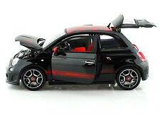 "Bburago 2008 Fiat 500 Abarth 1:18 scale 8"" diecast metal model Car Black B50"