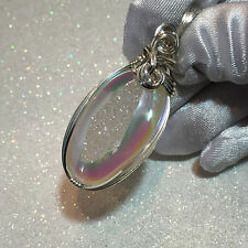 Angel Aura Druzy PENDANT  Argentium Sterling Silver with necklace 1 3/8 s2-2