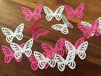 100+ Fushia PINK WHITE large Perfect Hand punched Butterfly butterflies Paper 3D