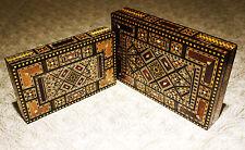 Zwei Walnuss Holzschatullen, mit Perlmutt intarsien,Kästchen aus Syrien K 1-2-42