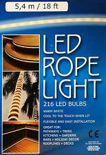 18FT WARM WHITE LED ROPE LIGHT 5.4M 240V DECKING KITCHENS PATHWAYS ROOFLINE WOW!