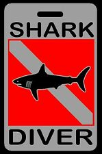 Lo-Viz Gray Shark Diver SCUBA Diving Luggage/Gear Bag Tag - New