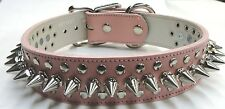 "Pink Genuine Leather 1 1/2"" Wide Spiked Dog Collar 18-21"" With Rivets USA Made"