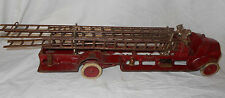 21 in Arcade Cast Iron Fire Ladder Truck w/ Driver Bell  5 Ladders Dual Wheels